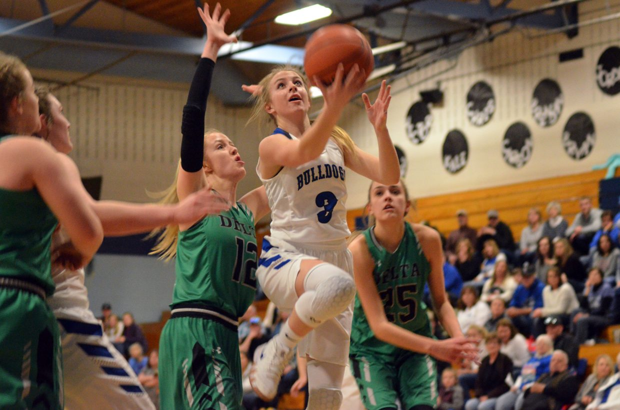 Moffat County High School's Halle Hamilton goes in for an underhanded layup against Delta.