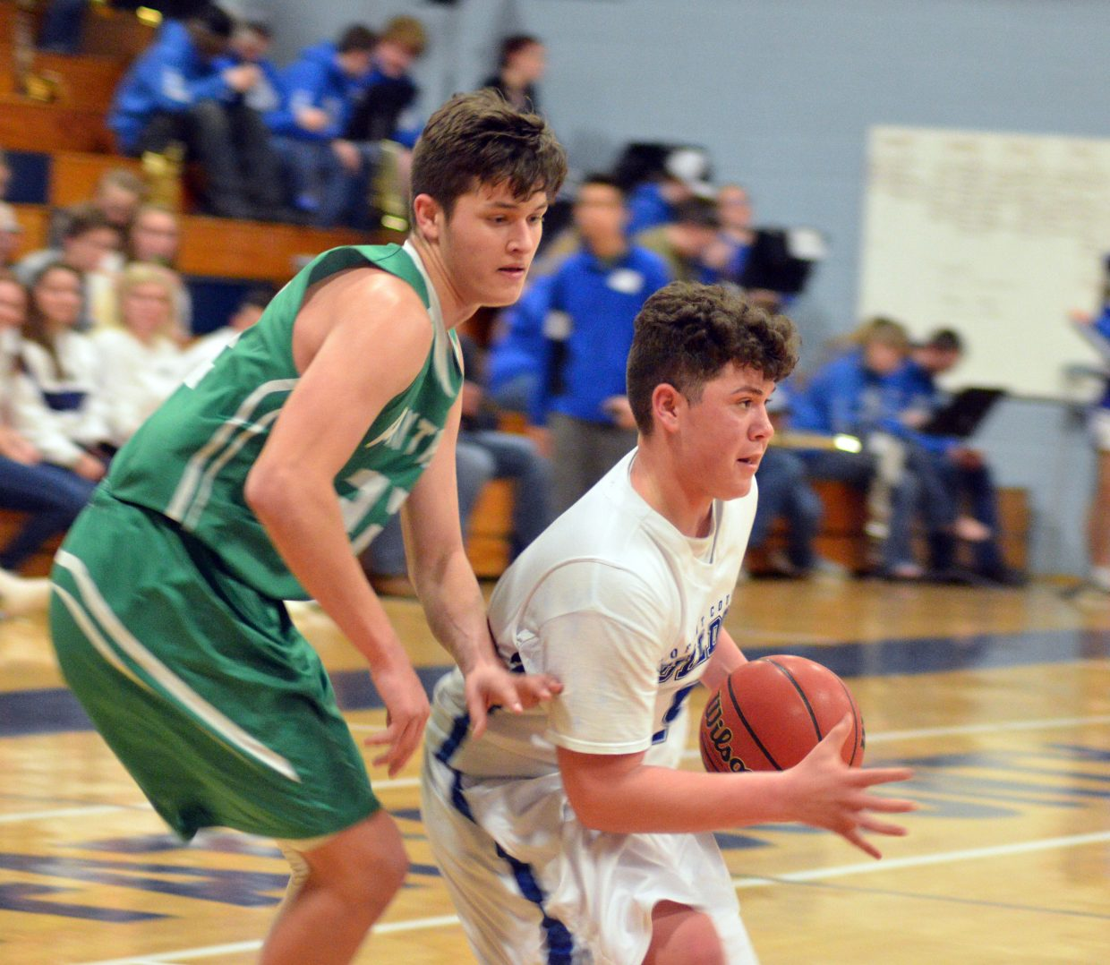 Moffat County High School's Bryan Gonzales protects the rock against Delta.