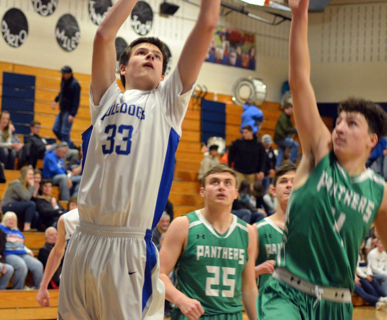 Moffat County High School's Nick Crookston gets some air against Delta.