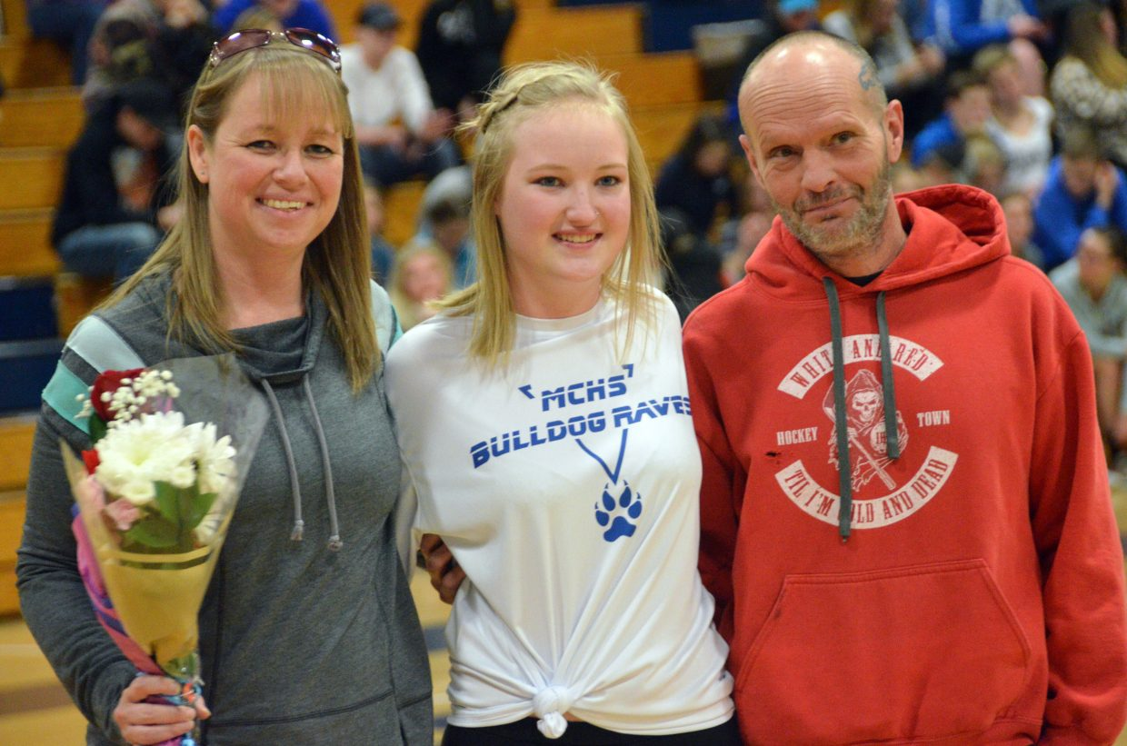 Moffat County High School dance team member Kelsey Stauffer is honored during Senior Night Saturday.