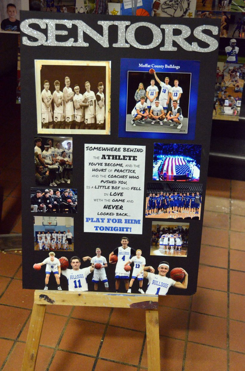 Signs in the Moffat County High School lobby denote Senior Night Saturday.