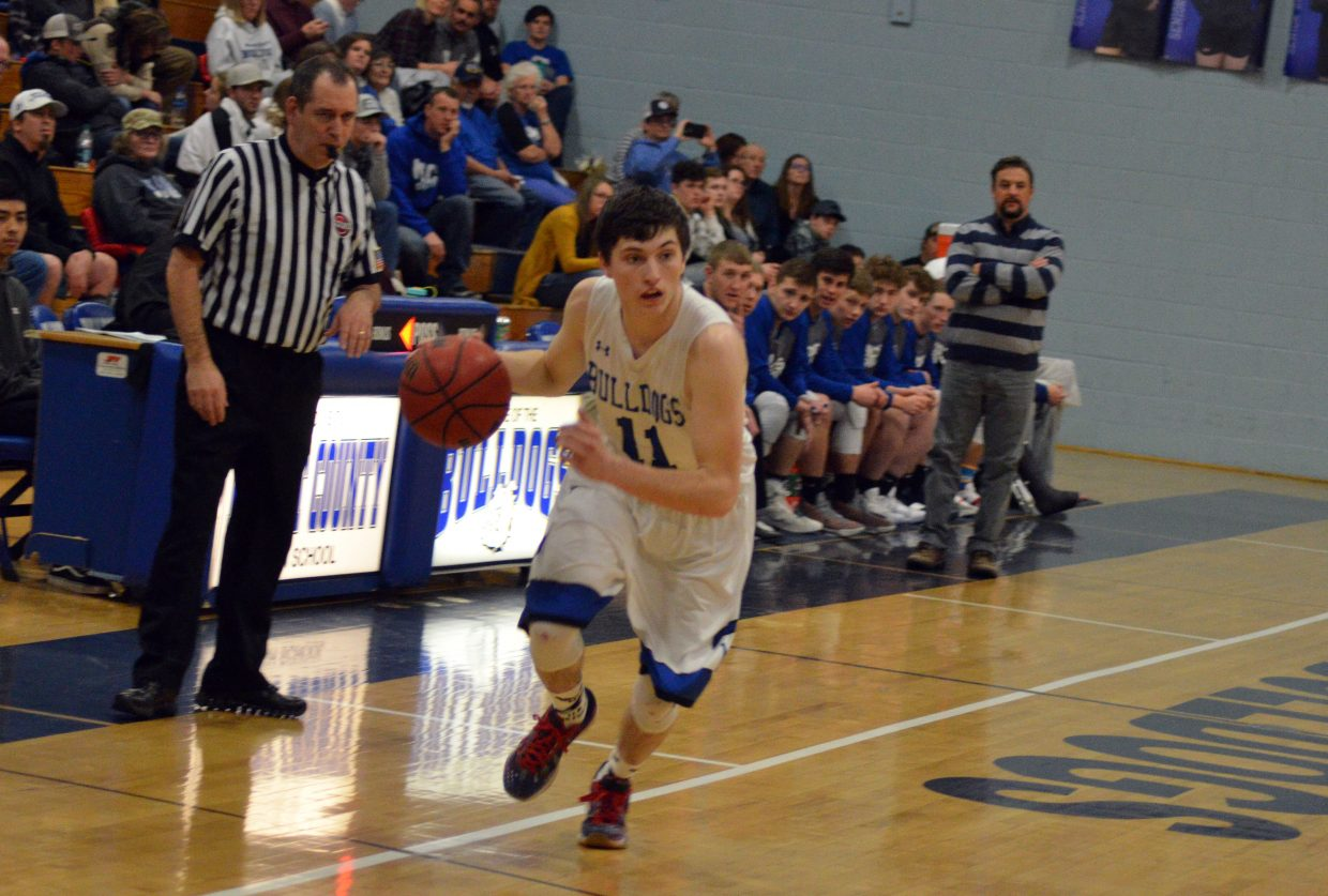 Moffat County High School's Connor Murphy pounds up the court against Roaring Fork.