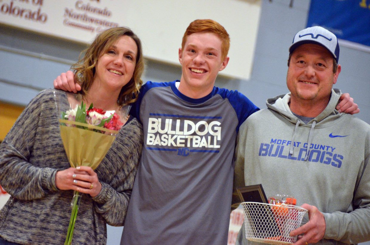 Moffat County High School's Torin Reed is honored during Senior Night Saturday.
