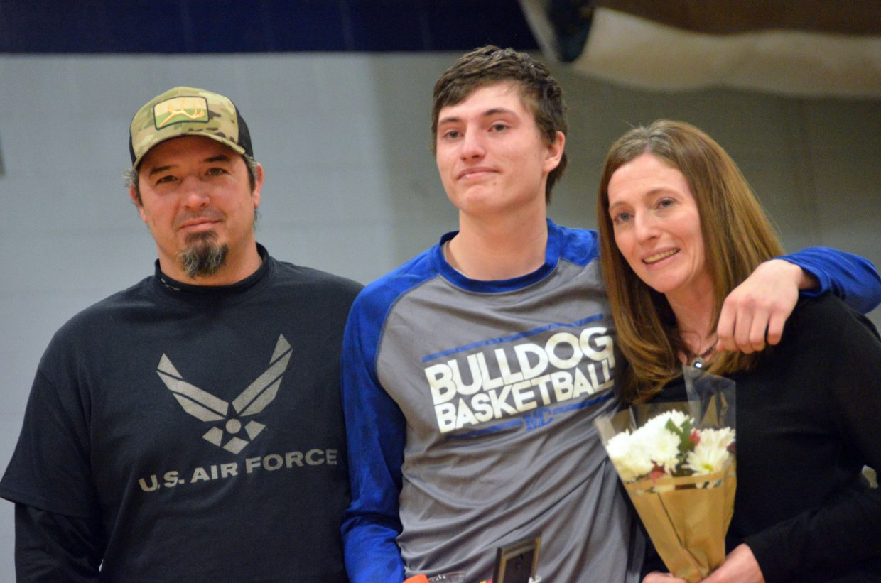 Moffat County High School's Connor Murphy is honored during Senior Night Saturday.