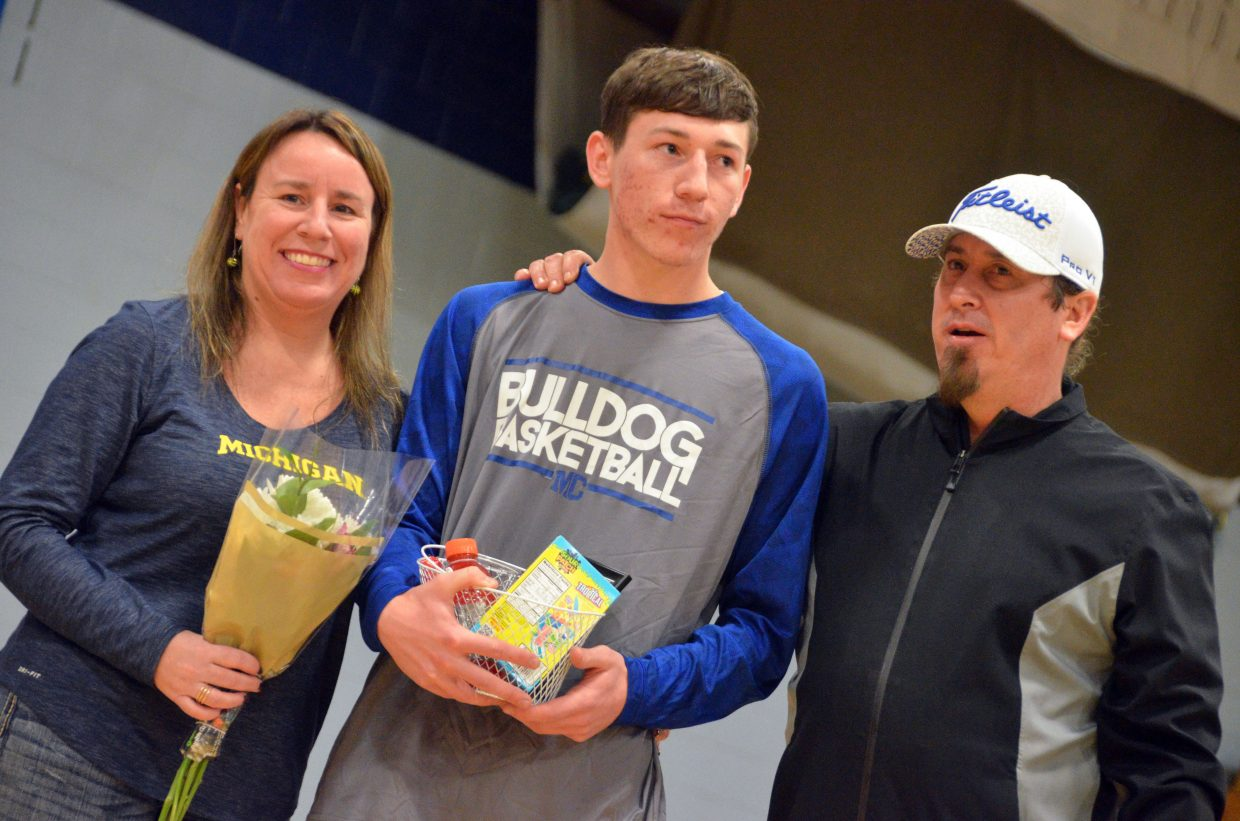 Moffat County High School's Connor Etzler is honored during Senior Night Saturday.