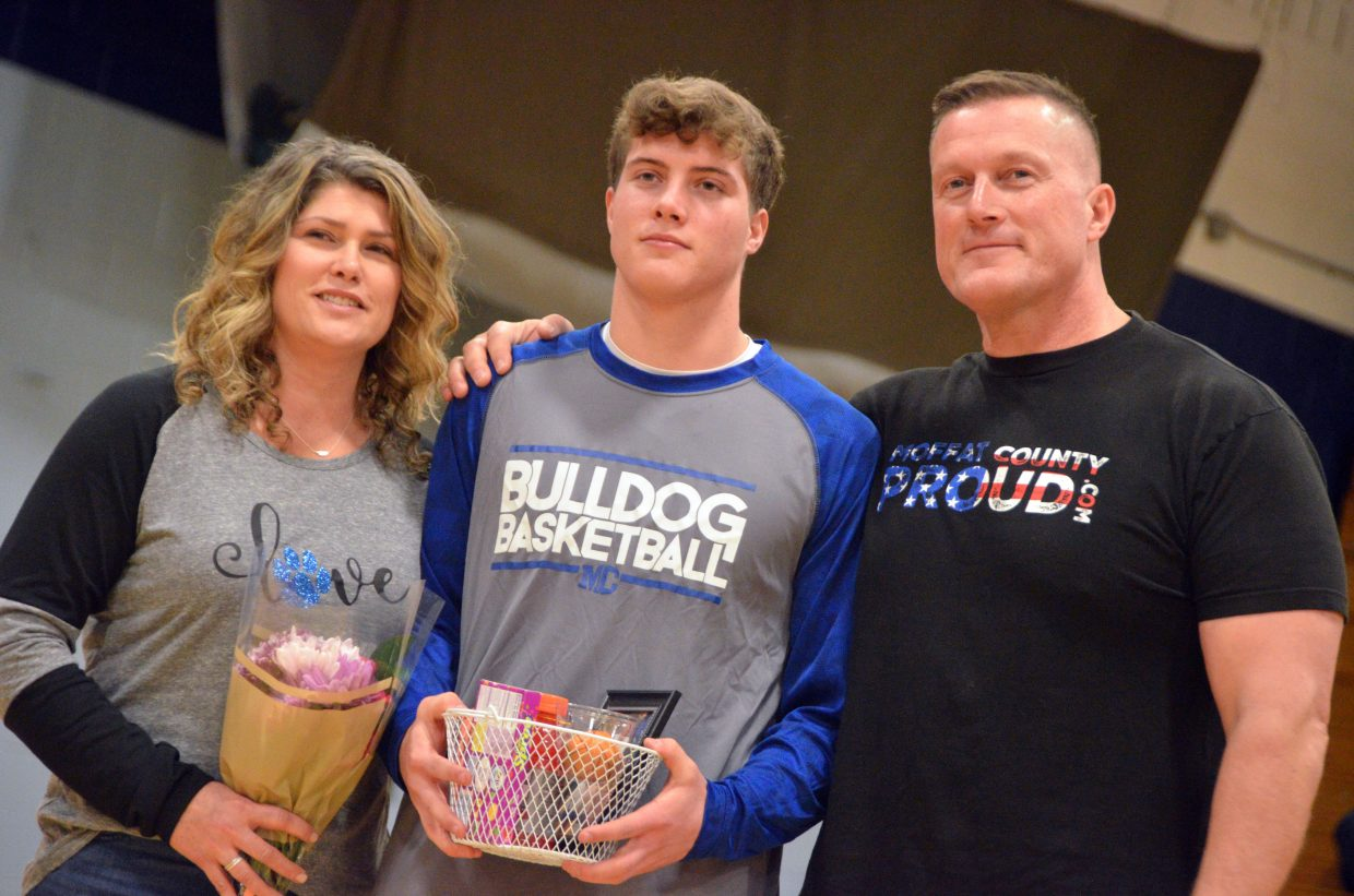 Moffat County High School's Cale Scranton is honored during Senior Night Saturday.