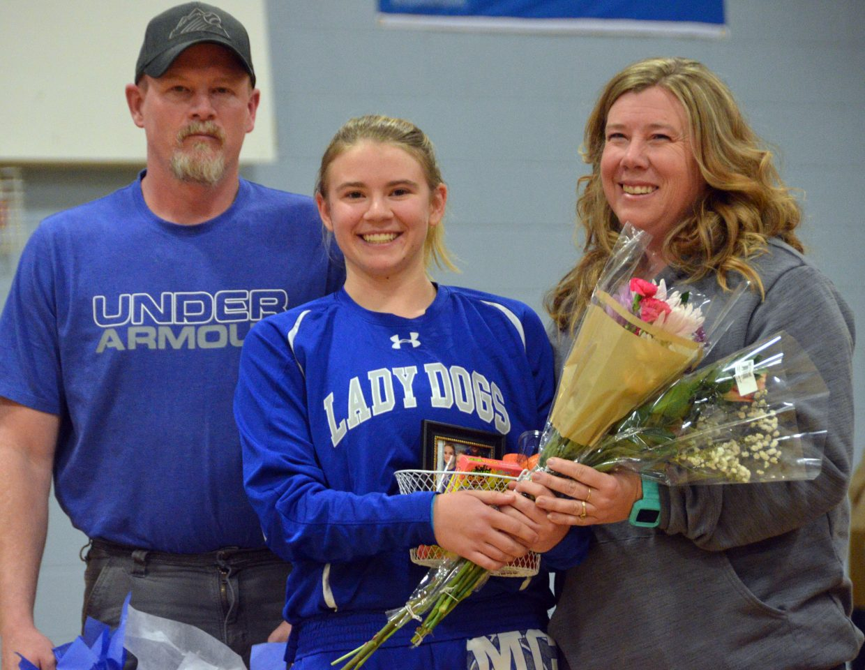 Moffat County High School's Brittnee Meats is honored during Senior Night Saturday.