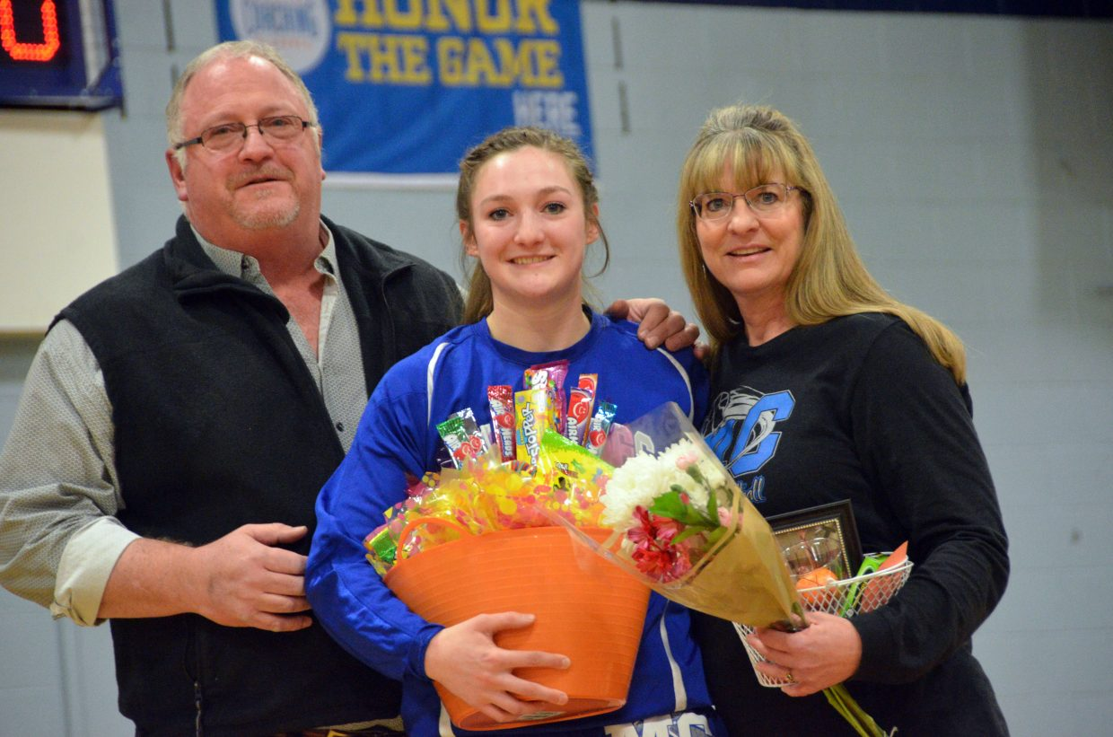 Moffat County High School's Tiffany Hildebrandt is honored during Senior Night Saturday.