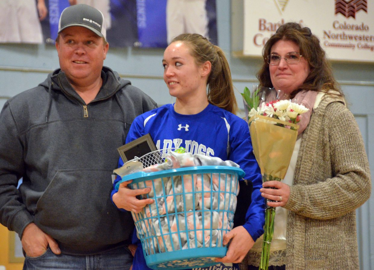 Moffat County High School's Madie Weber is honored during Senior Night Saturday.