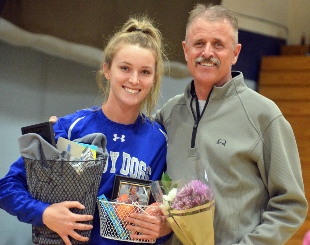 Moffat County High School's Kinlie Brennise is honored during Senior Night Saturday.