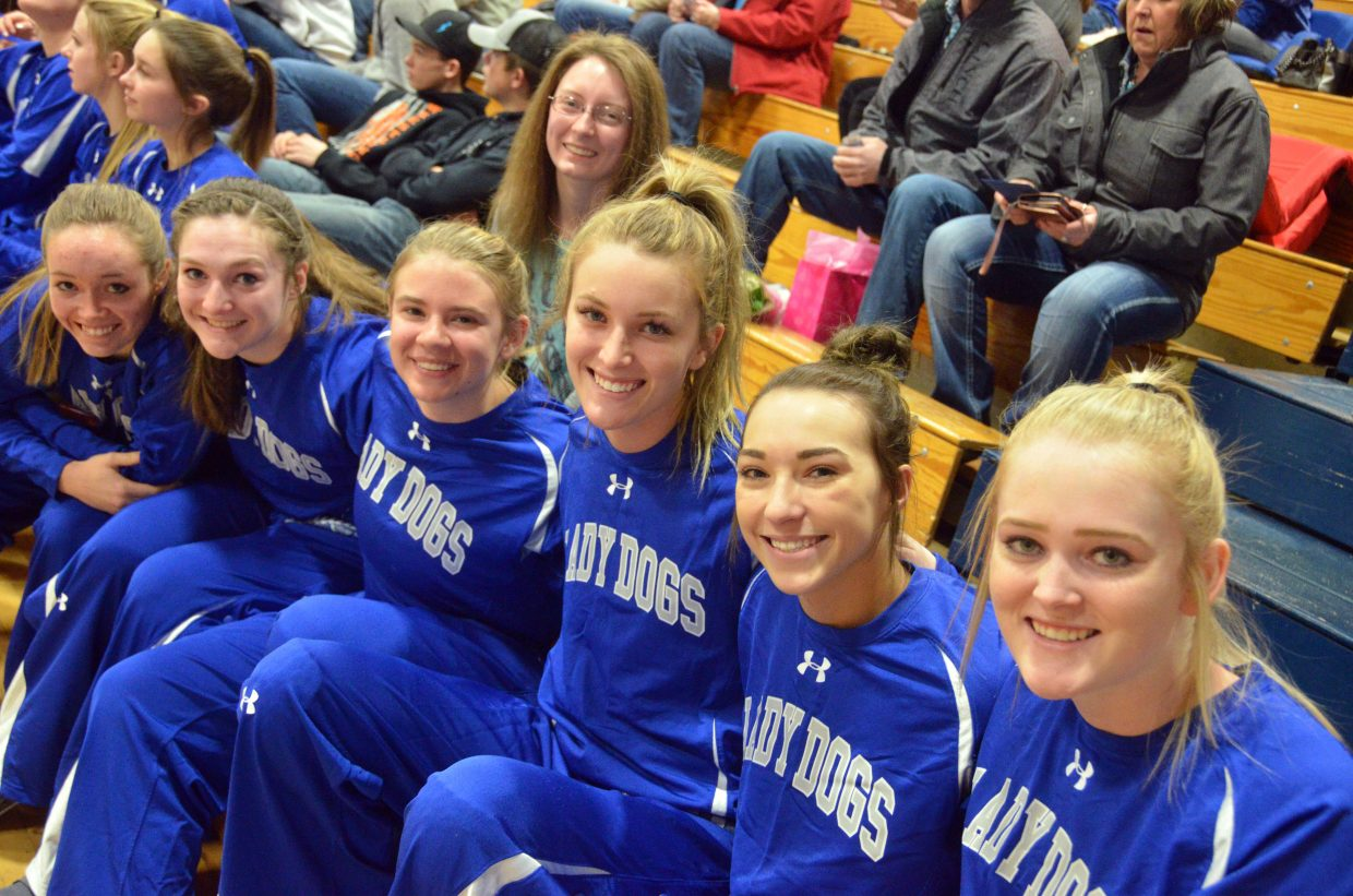 Moffat County High School girls basketball seniors gather before the game against Roaring Fork. From left, Madie Weber, Tiffany Hildebrandt, Brittnee Meats, Sharon Quick, Kinlie Brennise, Quinn Pinnt and Jaidyn Steele.