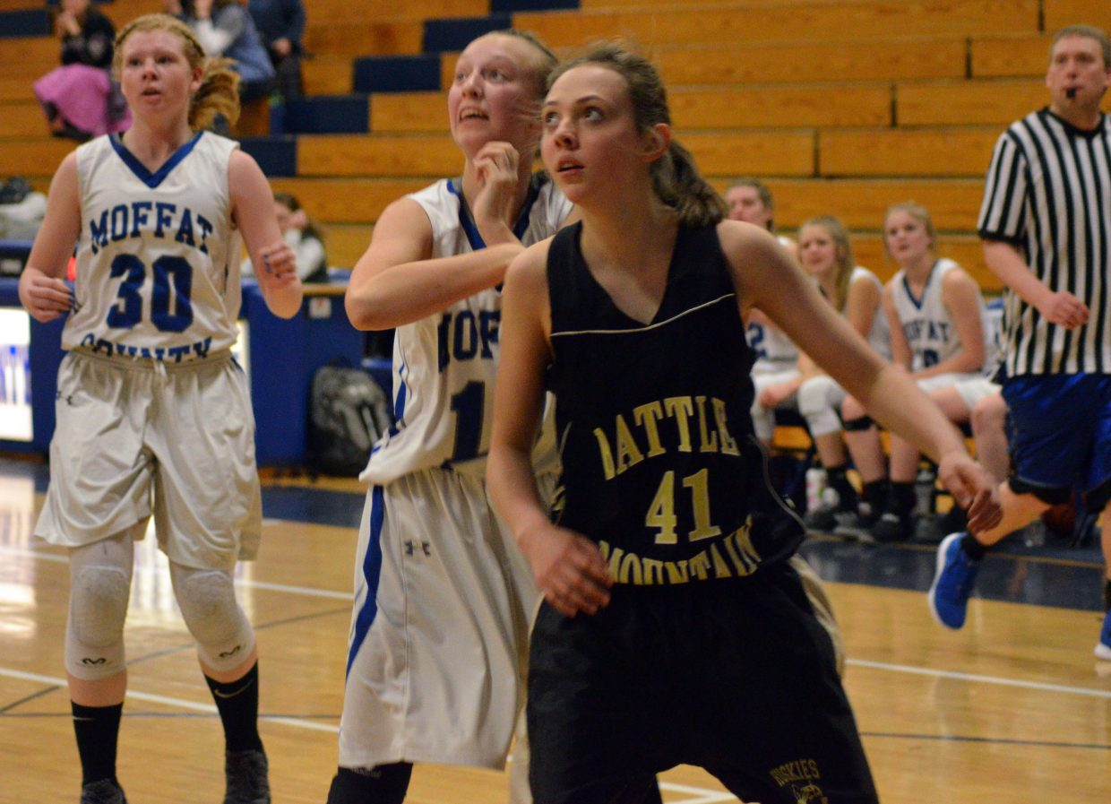 Moffat County High School's Haylee Ludgate  follows the arc of a shot against Battle Mountain.