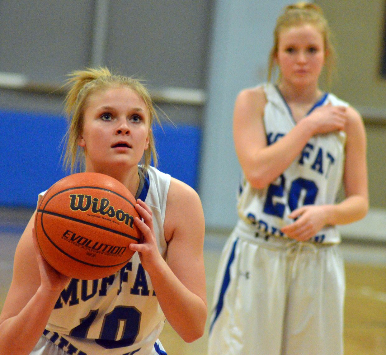 Moffat County High School's Jacie Evenson focuses at the free throw line against Battle Mountain.