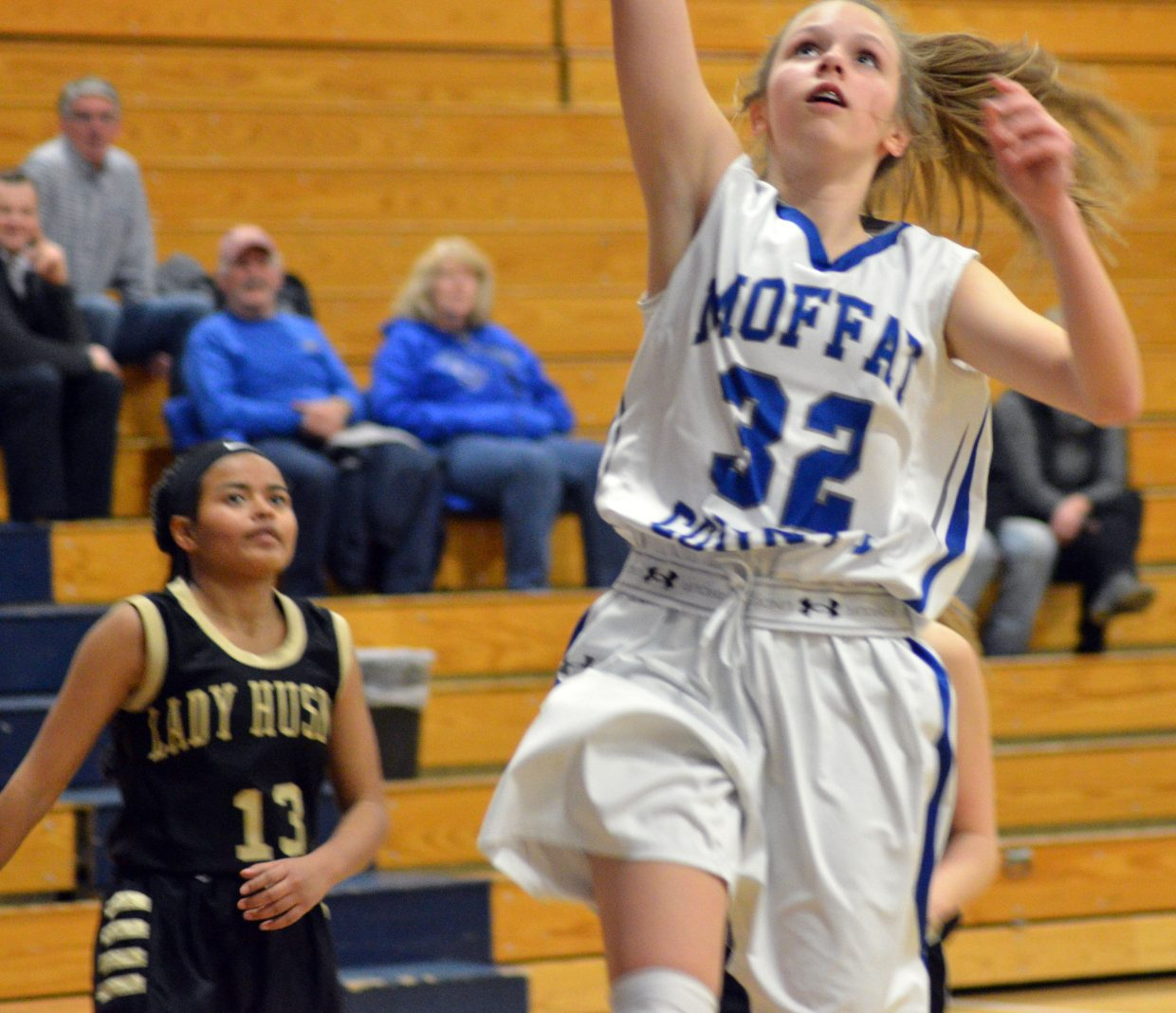 Moffat County High School's Emma Jones sinks a layup late in the game against Battle Mountain.