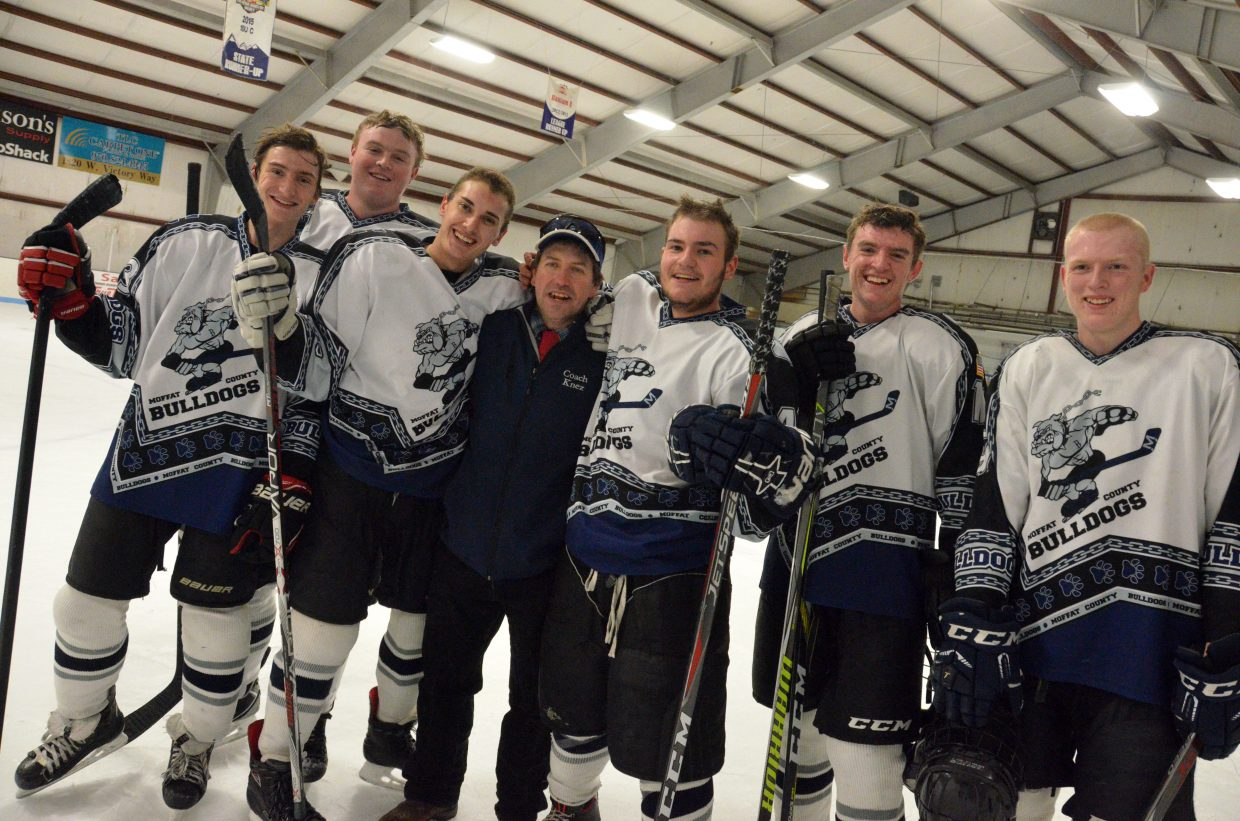 Moffat County Bulldog hockey has Senior Night scoring spree