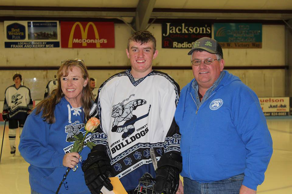 Moffat County Bulldogs' Grady Anson is honored as part of Senior Night.