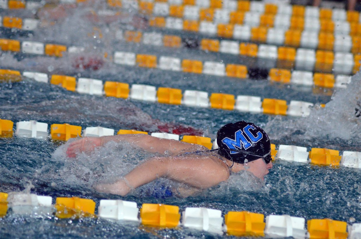 Moffat County High School's Kelsey McDiffett swims the butterfly in the 200 IM at the Southwest Conference Championships.
