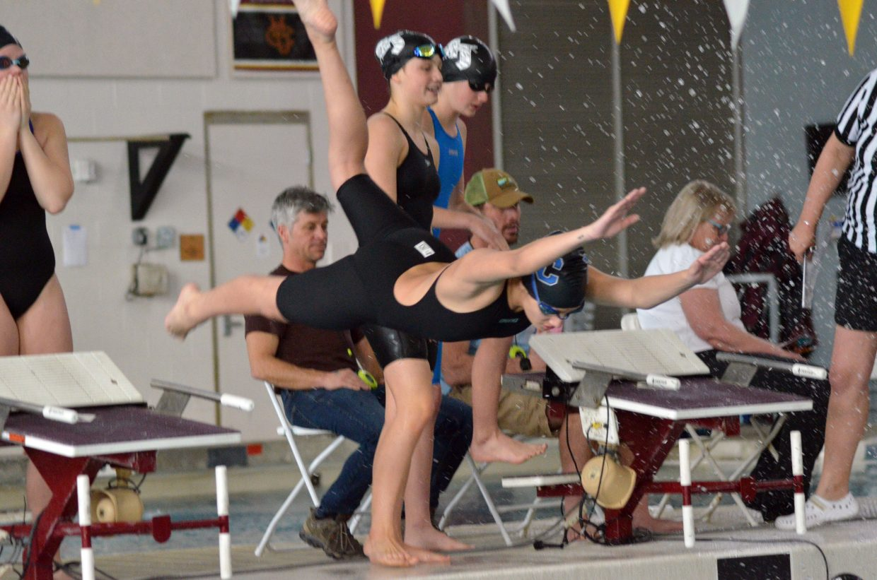 Moffat County High School's Alyssa Chavez dives in for the 200 free relay at the Southwest Conference Championships.