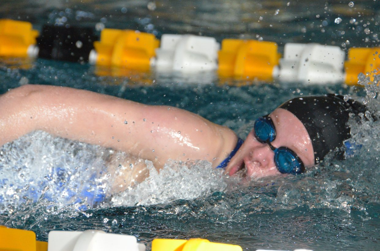 Moffat County High School's Jeni Kincher starts the 400 free relay at the Southwest Conference Championships.