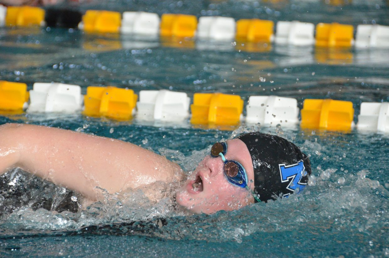 Moffat County High School's Ellina Jones competes in the 400 free relay at the Southwest Conference Championships.