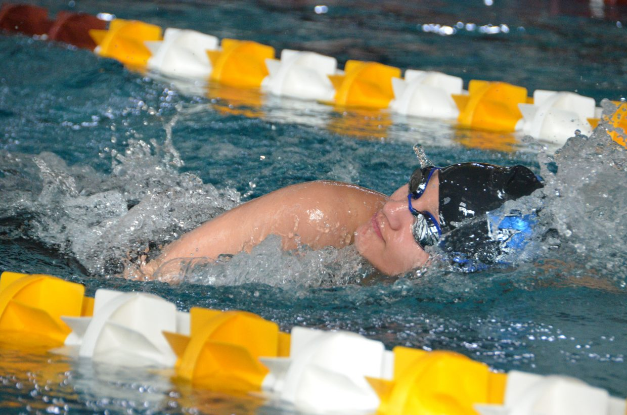 Moffat County High School's Alyssa Chavez competes in the 400 free relay at the Southwest Conference Championships.