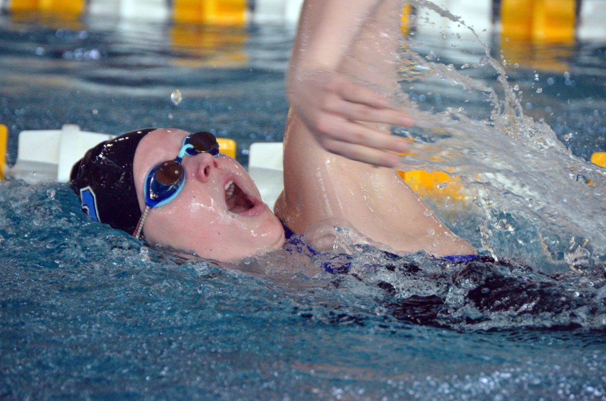 Moffat County High School's Anna Cooper competes as the anchor in the 400 free relay at the Southwest Conference Championships.
