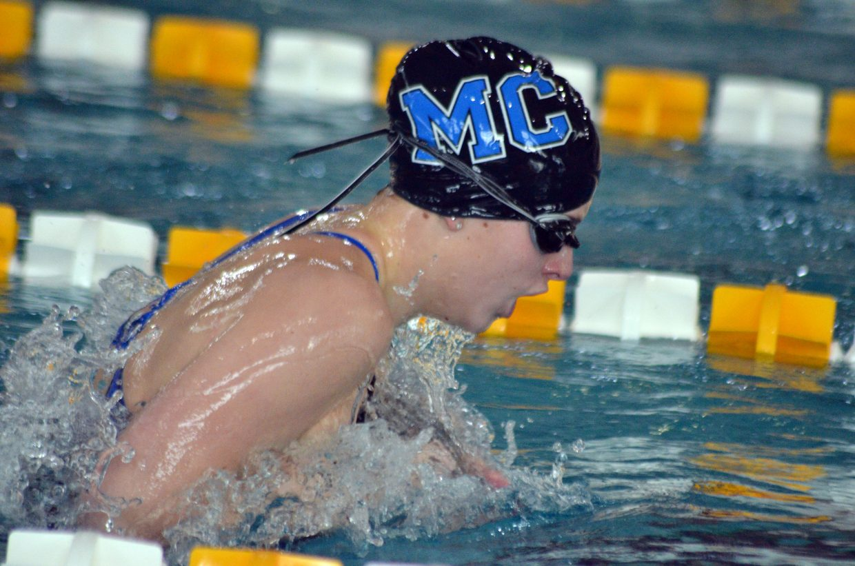 Moffat County High School's Kelsey McDiffett swims the breaststroke in the 200 IM at the Southwest Conference Championships.