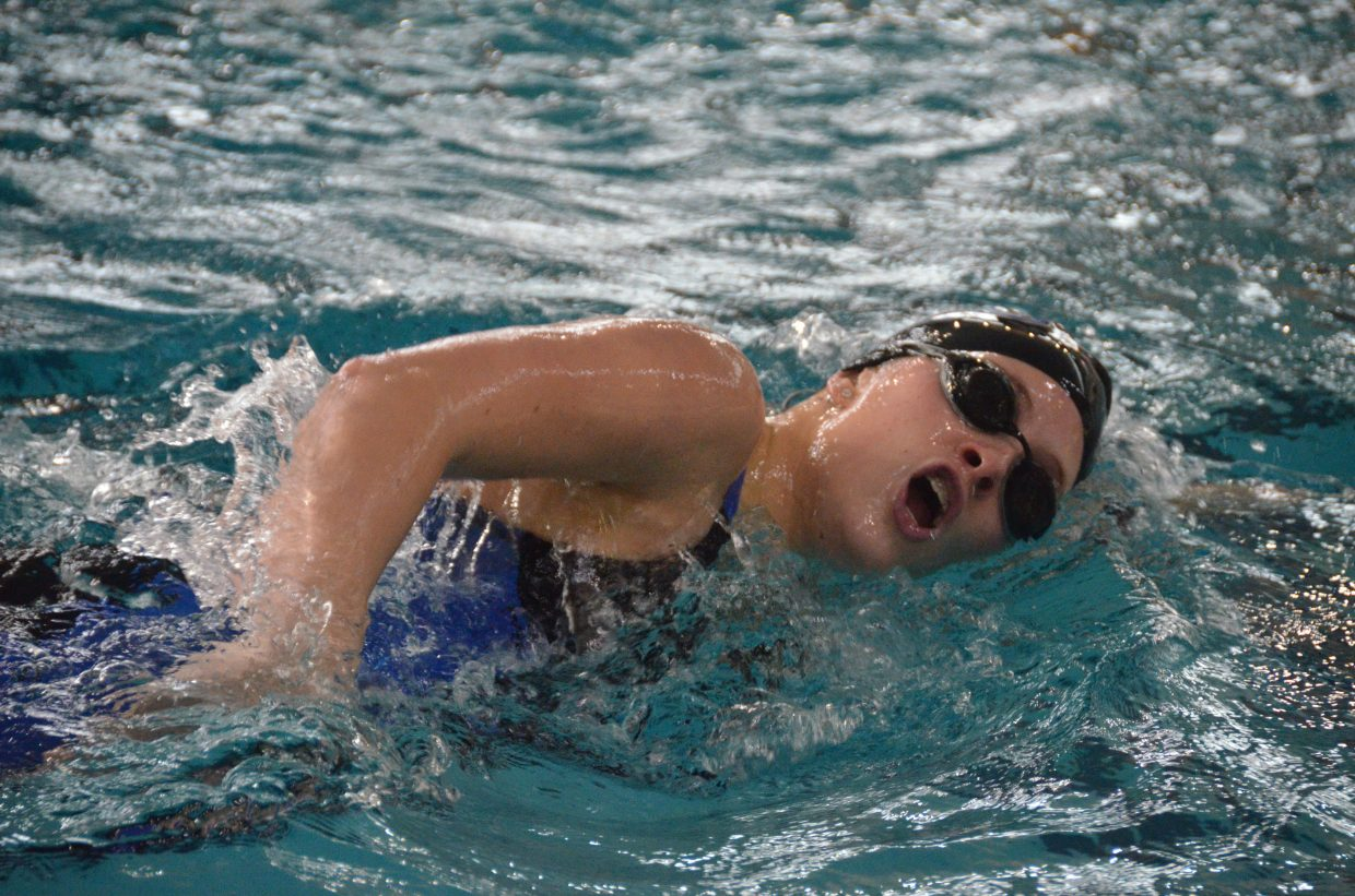 Moffat County High School's Kelsey McDiffett, competes in the 400 free relay at the Southwest Conference Championships.