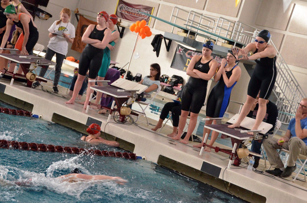 Moffat County High School's Molly Neton prepares to dive in for the 400 free relay at the Southwest Conference Championships.