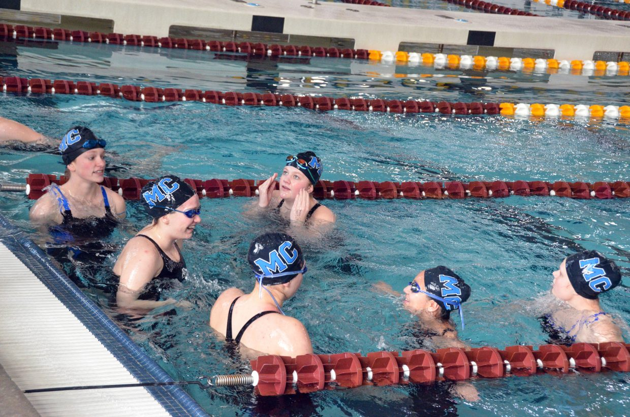 Moffat County High School swimmers warm up for the remainder of the Southwest Conference Championships.