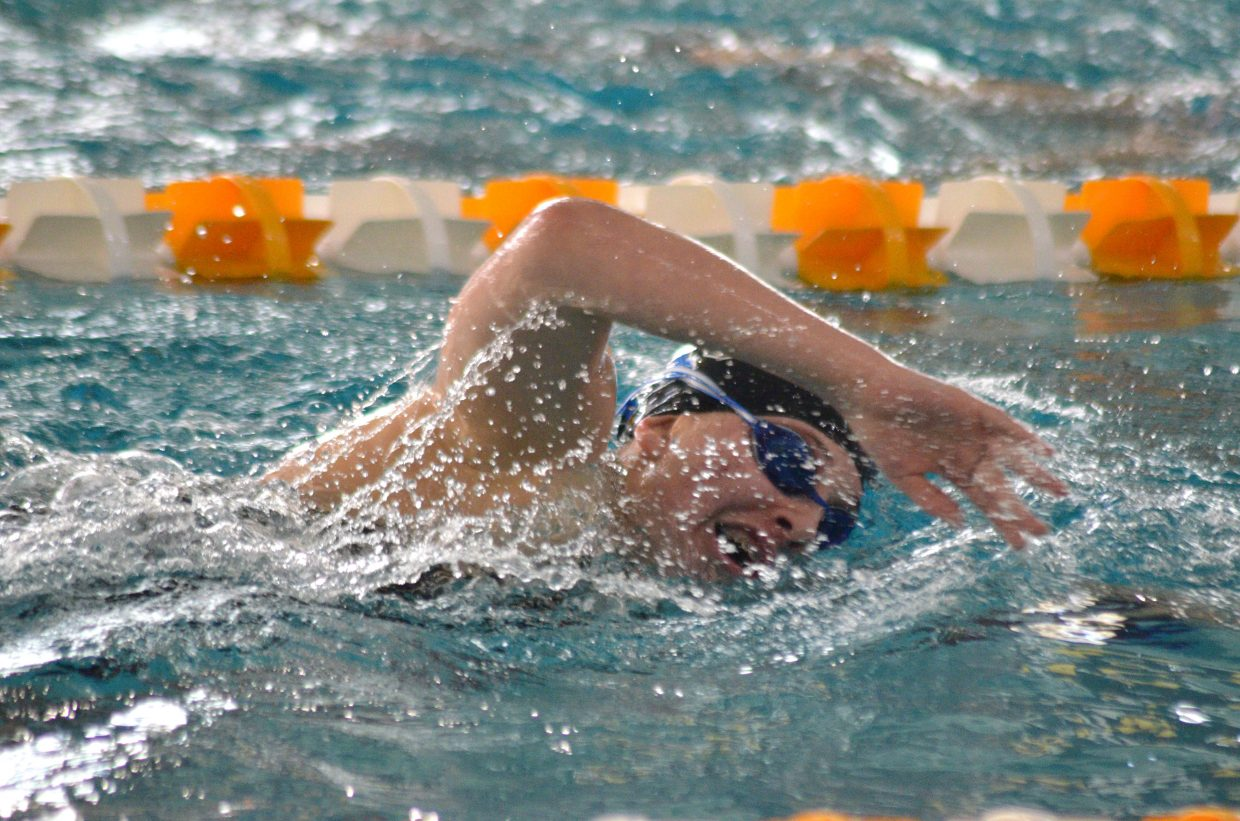 Moffat County High School's Alexa Neton is midway through the 500 freestyle at the Southwest Conference Championships.