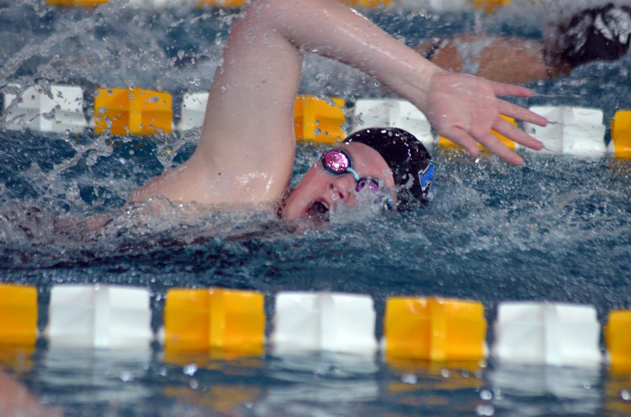 Moffat County High School's Ellina Jones competes in the 200 free relay at the Southwest Conference Championships.