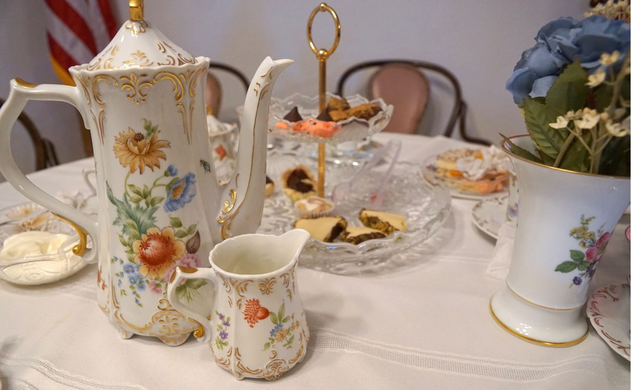 Mary Lou Allen's antique, hand painted tea set.