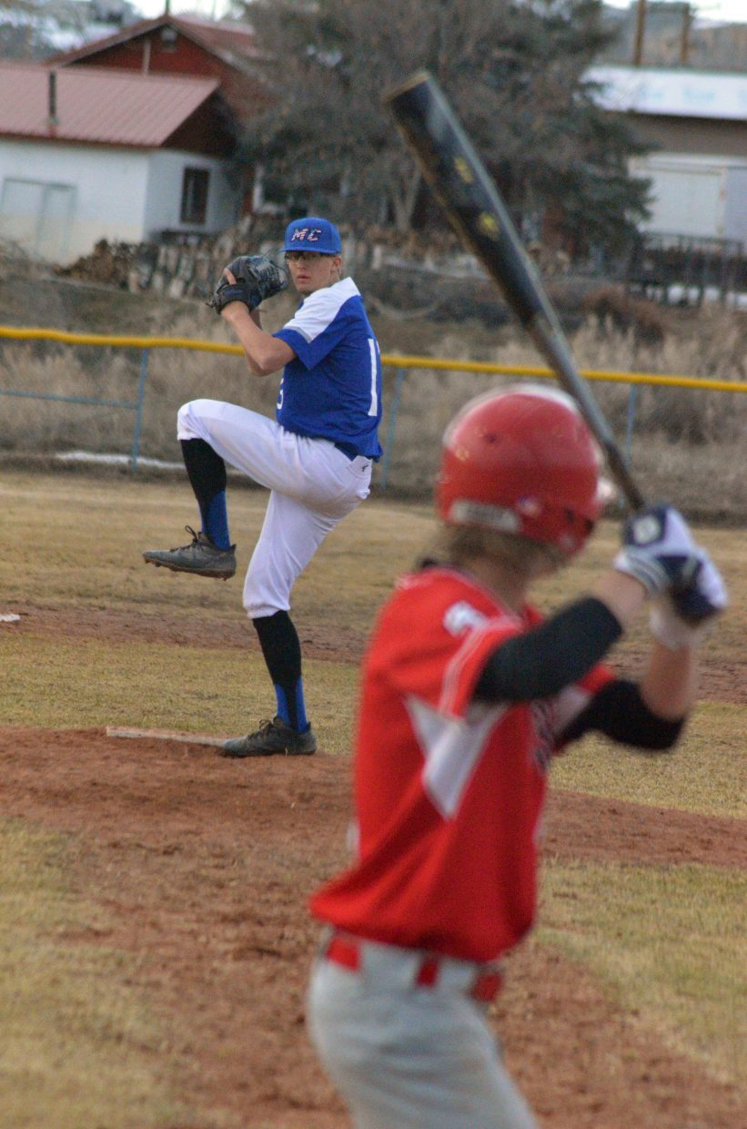 Moffat County High School's Hunter Smilanich winds up for a fastball against Steamboat Springs.
