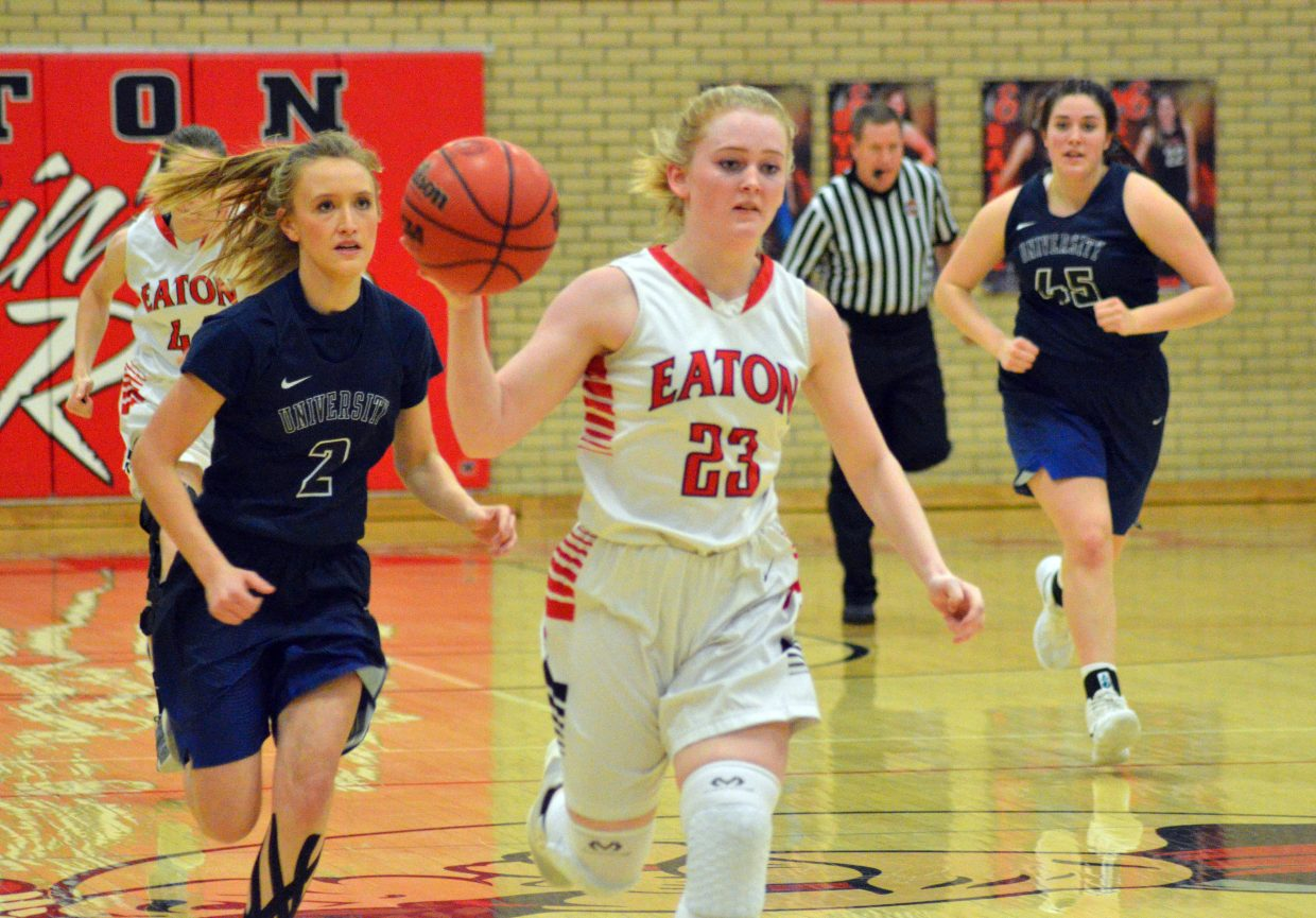 Moffat County High School's Jaidyn Steele gets on a fastbreak after a steal from University.