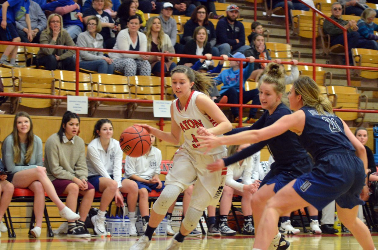 Moffat County High School's Emaleigh Papierski dribbles into the paint against University.