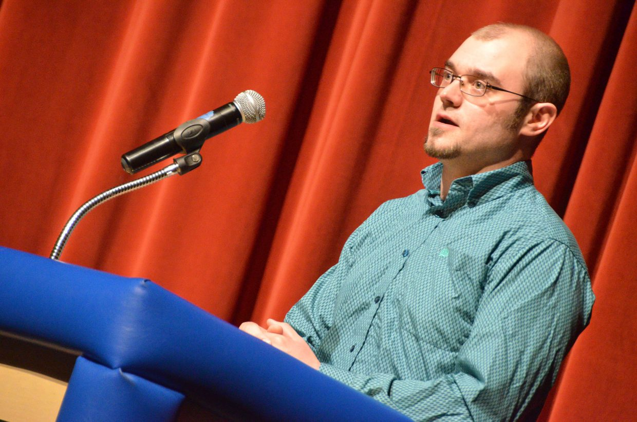 Craig City Council candidate Paul James addresses the audience at Tuesday's election forum.