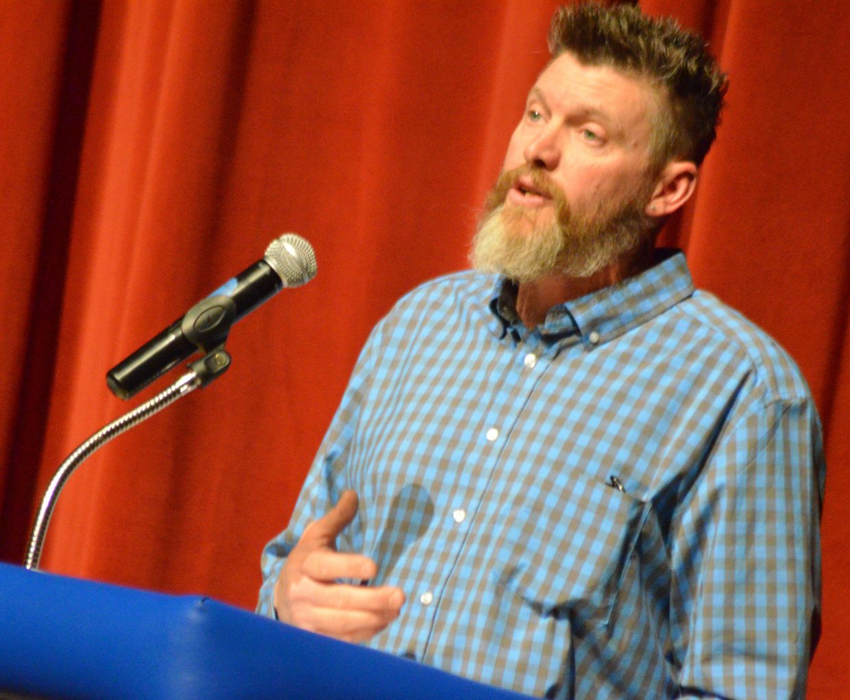 Craig mayoral candidate Jarrod Ogden delivers an opening statement at Tuesday's election forum.
