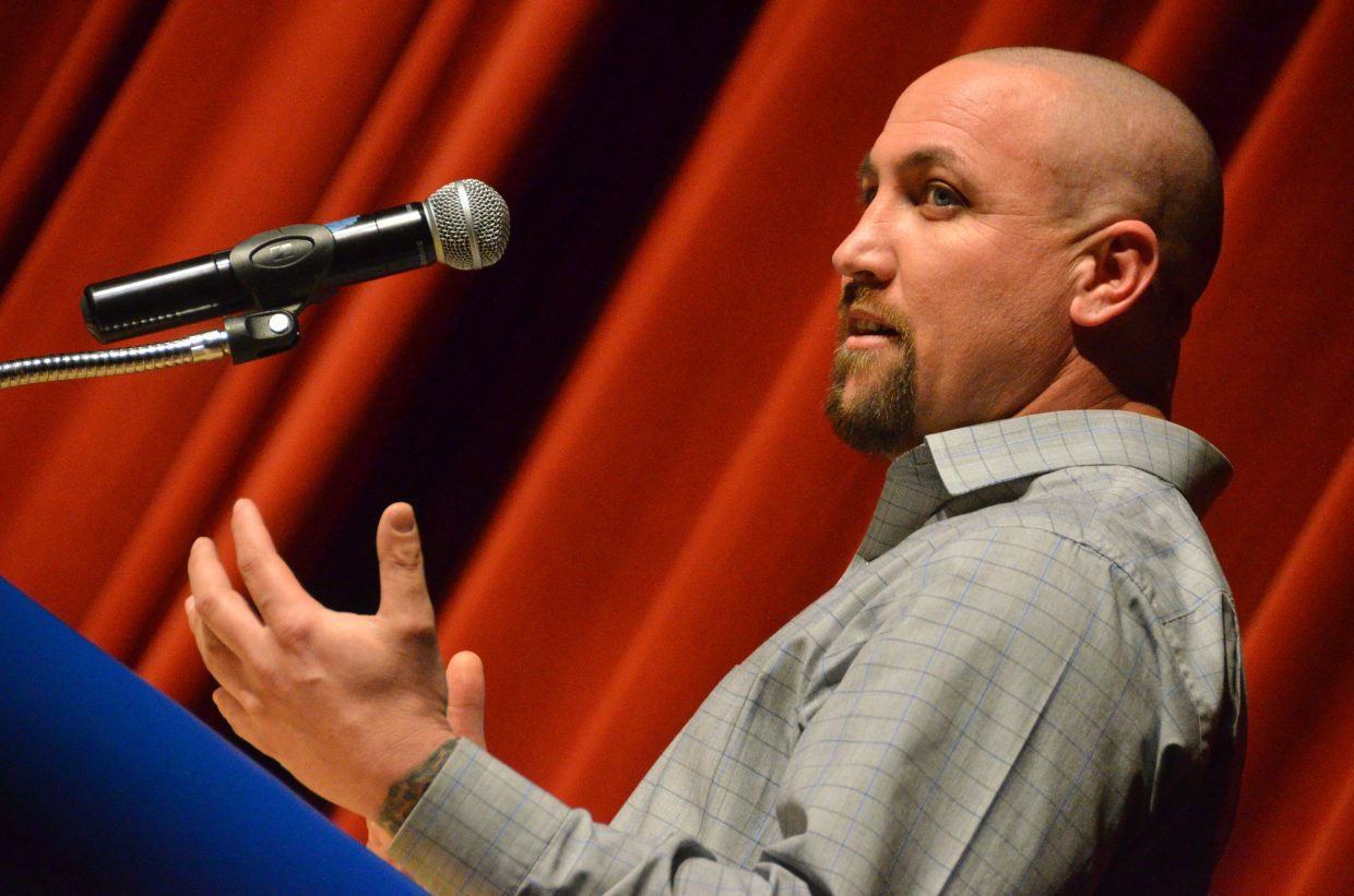 Craig City Council candidate Steven Mazzuca discusses talking points at Tuesday's election forum.