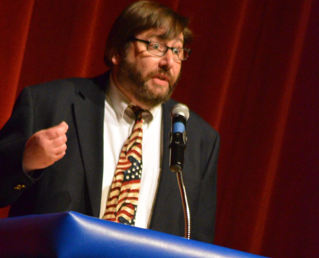Craig City Council candidate Brian MacKenzie emphasizes a point at the 2019 election forum.