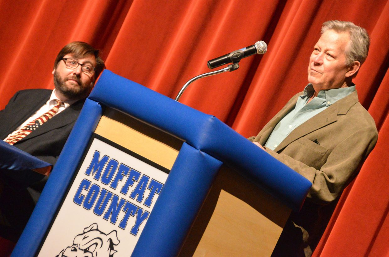 Craig City Council candidate Stephen Tucker speaks as Brian MacKenzie looks on at Tuesday's election forum.