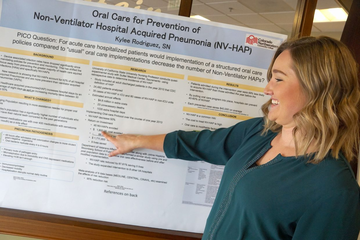 Nursing student Kaylee Rodriquez believes an oral care program might reduce infections in pneumonia cases.