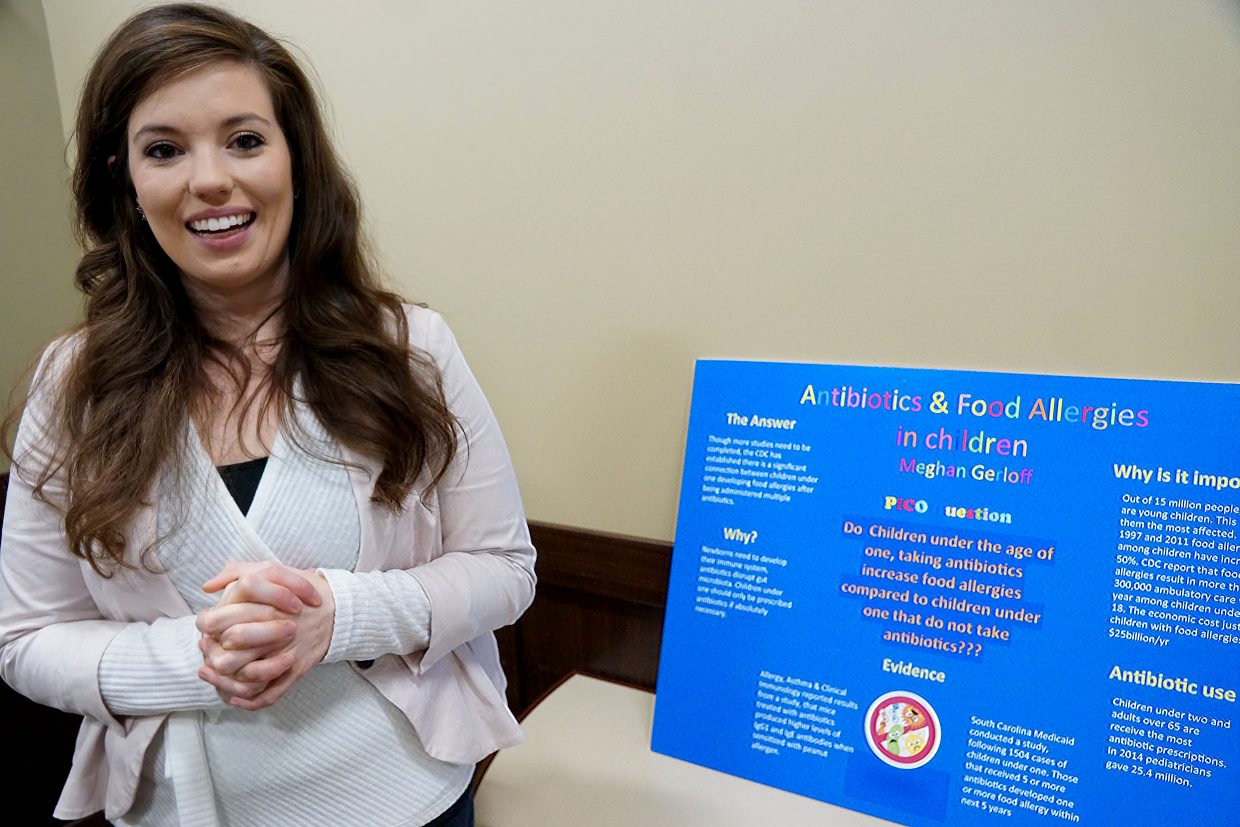 The relationship between antibiotics and the development of food allergies was the topic of student nurse Megan Gerloff's poster.