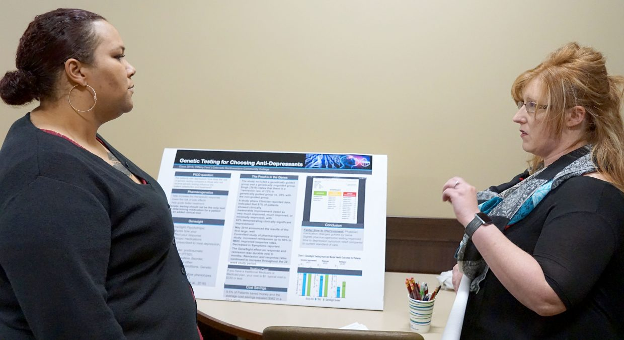 People's Choice for the eight annual CNCC student nurses poster presentation went to Tiffany Ford for her presentation of the feasibility of using genetic testing to determine the most effective antidepressant. Also pictured is student nurse Allie Hering.