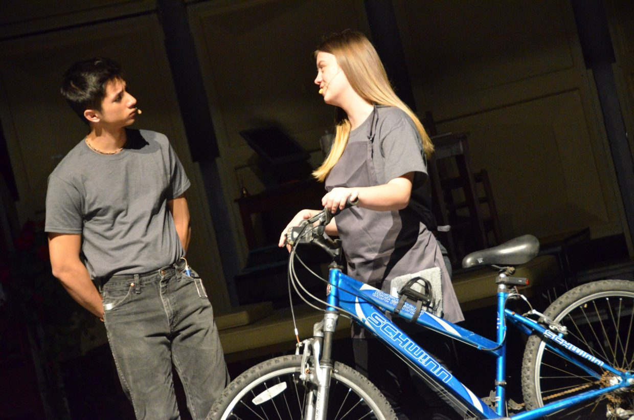 Jonas (Sambu Shrestha) and Fiona (Alyssa Rodriguez) stop and chat in