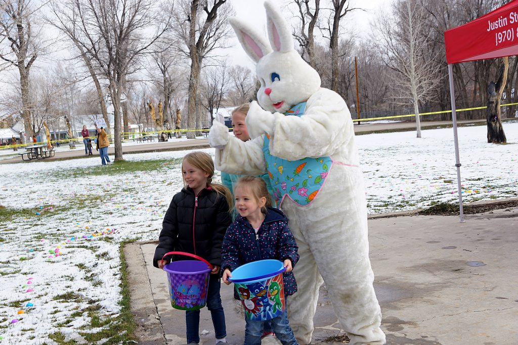 Pictures with the Easter bunny proved popular with this young crowd.