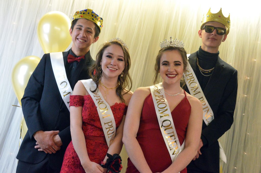 From left, Prom King Sambu Shrestha, Prom Princess Fiona Connor, Prom Queen Alyssa Zimmerman and Prom Prince Kameron Baker gather for a royal photo.