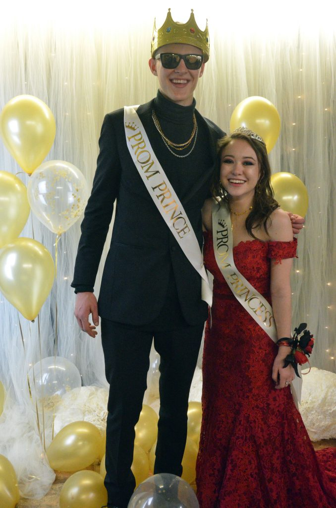 Kameron Baker and Fiona Connor get their royal photo taken as Prom Prince and Princess.