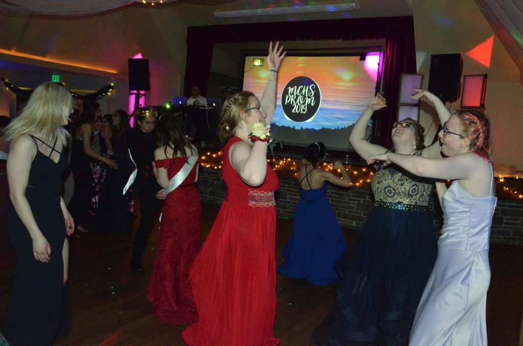 Students stay lively on the dance floor at Moffat County High School prom.