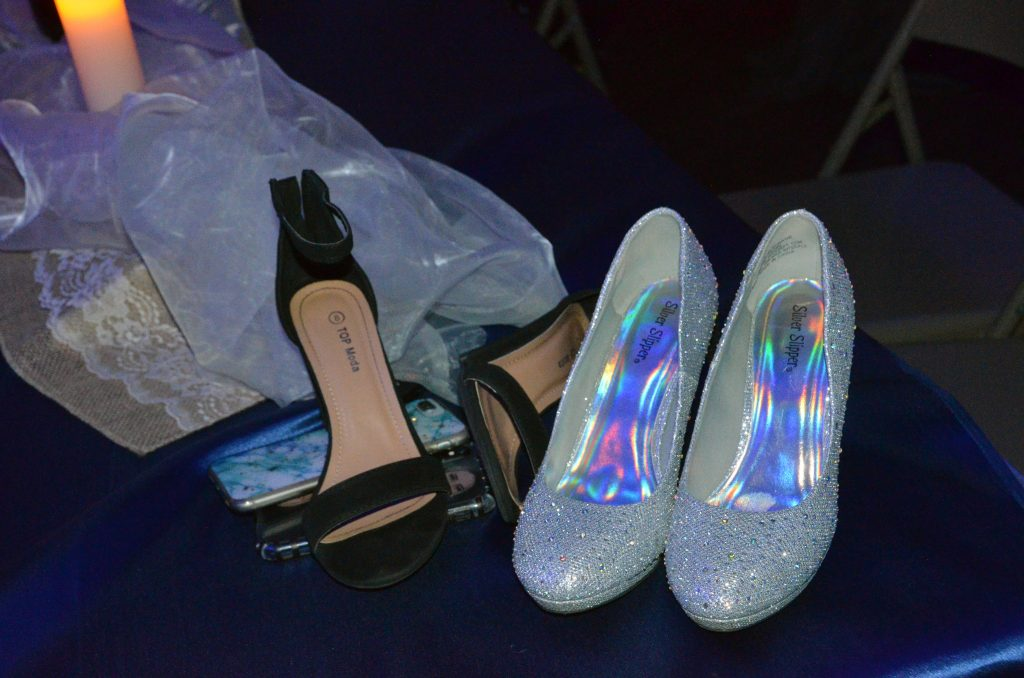 Girls footwear has the rest of the night off at Moffat County High School prom.